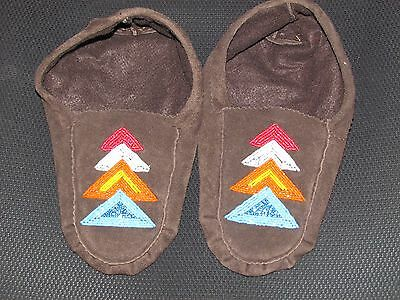 Native American  Moose Hide Moccasin  9 1/2 Inches Long Shinning  Triangles