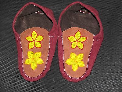 Native American  Moose Hide Moccasin  9 1/2 Inches Long  Sublime Yellow Flowers