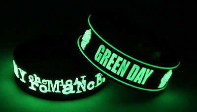 MY CHEMICAL ROMANCE GREEN DAY M7G7 NEW! 2x Bracelet Wristband Glow in the Dark