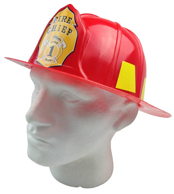 FIREMAN HAT Firemans Helmet Costume Dress Up Party Red Plastic Halloween Cap