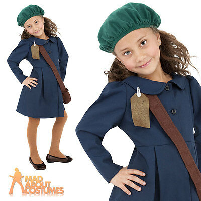 World War II Girls Evacuee Book Day Week Child New Fancy Dress Costume Kids WW2