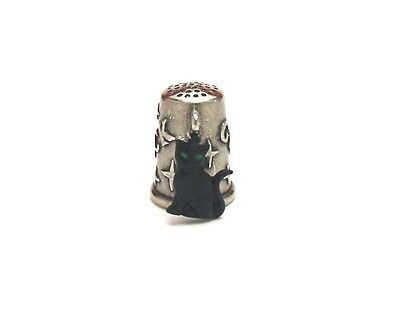 Good Luck Black Cat Charm Thimble Pewter Collectable Thimble