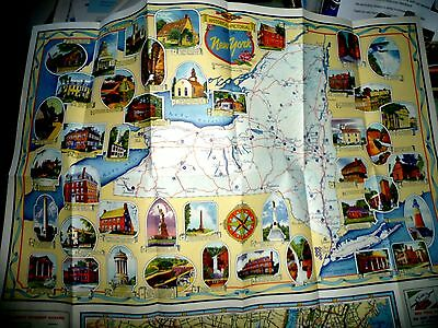 Pictorial And Historical Map New York Long Island 1949 Sun Oil Company Sunoco
