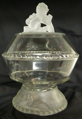 "** L.g. Wright Lion Covered Compote 11 And 1/2"" Tall**"
