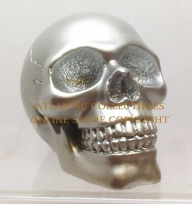 "Silver Skeleton Head Skull Figurine Resin Home Decor 3.5""L Solid Statue"