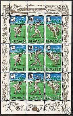 GUYANA 1968 MCC CRICKET TOUR WEST INDIES Sheetlet 3 Strips CRICKET Selvedge MNH