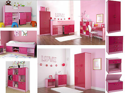 Ottawa Caspian Pink Gloss Girls Bedroom Furniture - Wardrobe Drawers Beds Sets