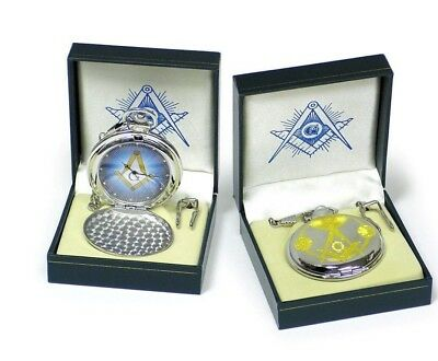 New Masonic Mason Pocket Watch Gold & Silver Tone Square & Compass NEW MODEL!