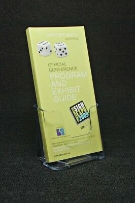 "Clear Acrylic Tri-fold Brochure Literature Holder 4"" Wide Counter Top Wall Mount"