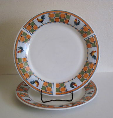 2 Oneida Oneidacraft Rooster Patch Dinnerplates - TWO