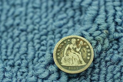 1857 Seated Liberty Dime Nice Coin  Item 549