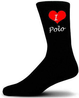 I Love Polo Socks.  Black Cotton Socks.