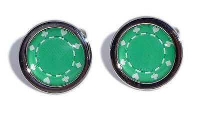 Green Poker Chip Cufflinks