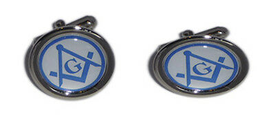 Masonic Blue & White Compass Cufflinks