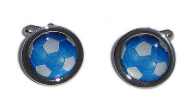 Blue & White Foot Ball Cufflinks