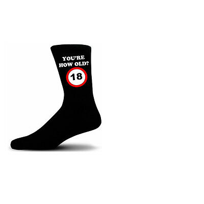 How Old Are You? 18 Speed Sigh Black Novelty Birthday Socks