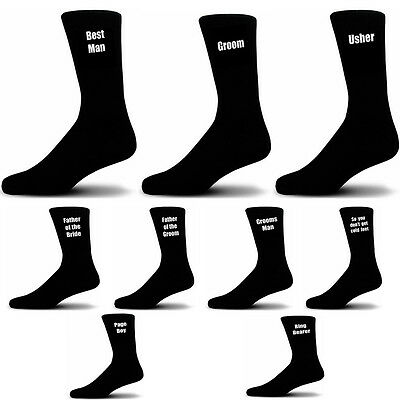 Black Mens Bespoke Custom Luxury Wedding Role Socks 18 titles