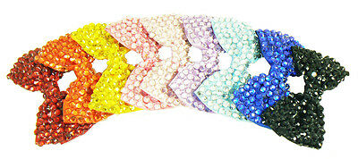 12 NEW Wholesale Ladies / Girls 10cm Crystal Bow Hair Clips