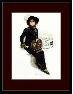 English Print Brown Pomeranian Puppy Dog Beautiful Lady Art Picture Poster Dogs