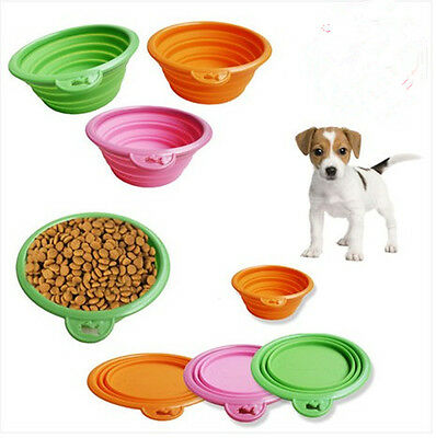New Silicone Pet Bowl Travel Outdoor Puppy Cat Feeding Food Drink Collapsible