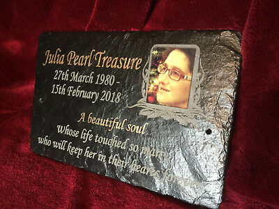 Photo Memorial Grave Plaque - Personalised for your loved one with verse & photo