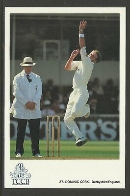 DOMINIC CORK (ENGLAND) OFFICIAL TCCB CRICKET POSTCARD No. 27