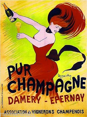 French Pur Champagne Damery Wine Europe Vintage Advertisement Art Poster Print