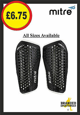 Mitre Aircell Speed Slip Shin Guards/Pads Kids/Mens/Adults Size XS S M L Black
