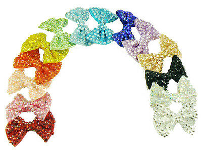 12 NEW Wholesale Ladies / Girls 6cm Crystal Bow Hair Clips