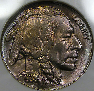 1938-D Buffalo Nickel Superb Gem BU NGC MS-66...with Awesome Color, So Very NICE