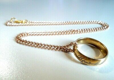 New 18K Gold Tone Lord of the Rings Ring Hobbit Bilbo LOTR One Hot