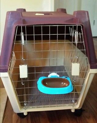 Plastic Portable Large Dog Crate with wheels