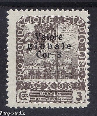 Fiume 1920 - Valore Globale - Cor. 3 - Ii Tipo - Mh