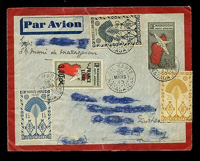 MADAGASCAR 1945 STATIONERY UPRATED AIRMAIL to FRANCE