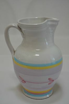 Caleca Hand Painted Ceramic Water Pitcher made in Italy Light Purple Blue Yellow