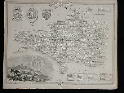 Original Vtg Antique DORSETSHIRE Map circa 1840s by Moule 19th C. Engraving