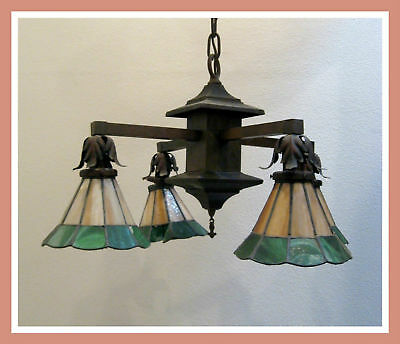 Antique Arts Crafts Stained Glass Hanging Light Lamp