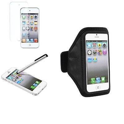 Black Armband Sportband Case Cover+SPT+Stylus For iPod Touch 5 5G 5th Gen