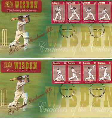 WISDEN CRICKET SIR DON BRADMAN GRENADA 2000 Set of 8v on 2 First Day Covers