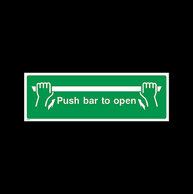 Push Bar to Open Sign, Sticker - All Sizes & Materials - Fire, Escape - (EE23)