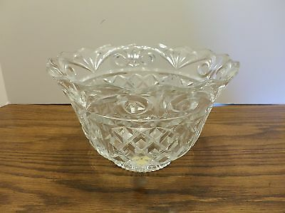 VERY LARGE HEAVY VINTAGE CRYSTAL BOWL 9 inch top MADE IN POLAND
