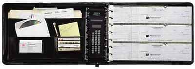 7 Ring Business Check Book Binder Zippered Leather Look 3-on-a-page Vinyl Black