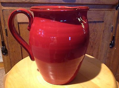 Beautiful Rust Colored Ceramic Pitcher Hand Painted and Made in Italy.brown trim