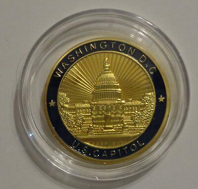 US Capitol Challenge Coin Gold Blue Congress Seal Building Washington DC