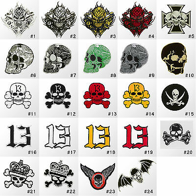 #049R Skull Skeleton Biker Rock Goth Message Embroidered Sew Iron On Patch Badge