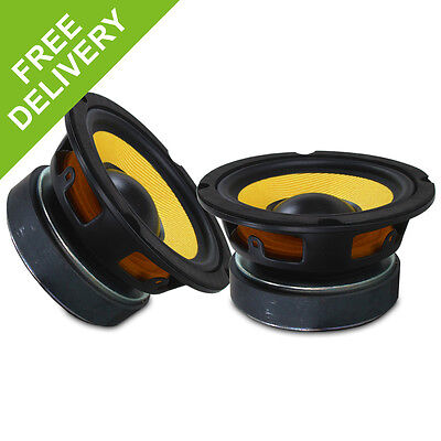"Pair 5.25"" 200W High Power Replacement Hifi Woofer Driver Speaker Kevlar Cone"