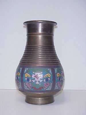Cloisonne Antique Chinese Brass Vase