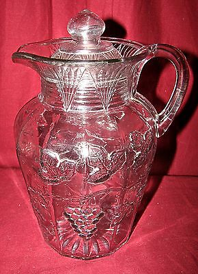 EAPG Late Paneled Grape pattern glass pitcher with lid