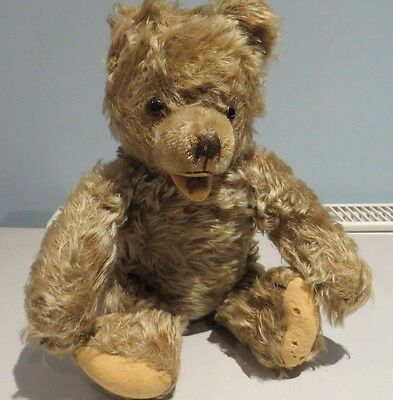 HERMANN 12 INCH STRAW FILLED FULLY JOINTED TEDDY BEAR OPEN MOUTH  FREE UK P&P