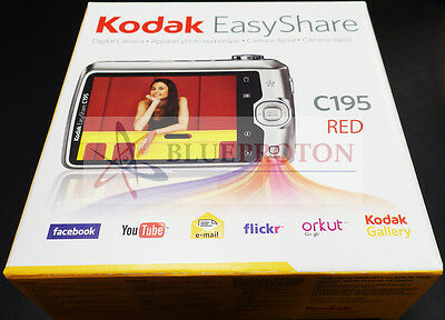 Kodak EasyShare C195 14MP Digital HD Camera (Red) BUNDLE w SDHC Card